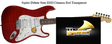 กีตาร์ไฟฟ้า Squier Deluxe Strat HSH Crimson Red Transparent